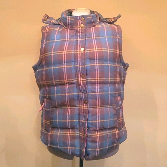 Boden Plaid Down Vest with Hood - 16